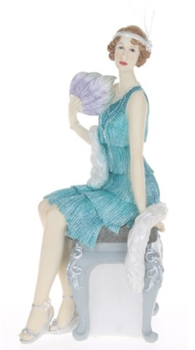 Roaring 1920 S Charleston Lady Elegantly Sitting On A